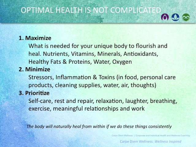 Optimal Health is Not Complicated; Maximize, Minimize & Prioritize